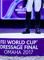 OMAHA, NEBRASKA - APR 1: Isabell Werth stands on the podium after finishing first in the FEI World Cup Dressage Final at the CenturyLink Center on April 1, 2017 in Omaha, Nebraska. (Photo by Taylor Pence/Eclipse Sportswire/Getty Images)