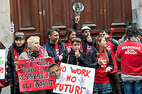 Rome, Italy. 7th March 2016<br /> Demonstration  of workers the airline Meridiana in front of the Ministry of Economic Development,against about 900 layoffs provided by the airline.