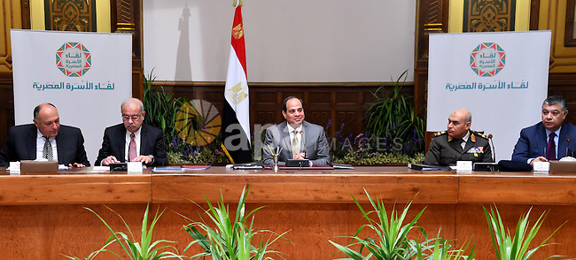 Egyptian President Abdel Fattah al-Sisi speaks during a meeting with representatives of Egyptian society in Cairo, Egypt, on April 13, 2016. Photo by Egyptian President Office