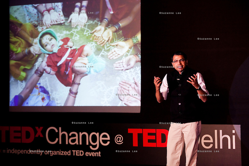 Vishwajeet Kumar speaks on stage at the India Islamic Cultural Centre during the TEDxChange @ TEDxDelhi in New Delhi, India on 22nd March 2011..