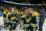 ST CHARLES, MO - MARCH 19:  The Clarkson Golden Knights celebrate their victory over the Wisconsin Badgers to win the Division I Women's Ice Hockey Championship held at The Family Arena on March 19, 2017 in St Charles, Missouri. Clarkson defeated Wisconsin 3-0 to win the national championship. (Photo by Mark Buckner/NCAA Photos via Getty Images)