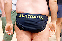 David Walliam from Little Britan is pictured on Manly beach for the Cole classic ocean swim. 4/2/07.Picture James Horan
