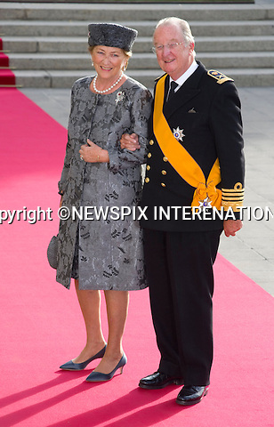 """KING ALBERT II AND QUEEN PAOLA OF BELGIUM.Wedding of HRH the Hereditary Grand Duke and Countess Stéphanie de Lannoy.Religious Ceremony at Cathedral of Our lady of Luxembourg, Luxembourg_20-10-2012.Mandatory credit photo: ©Dias/NEWSPIX INTERNATIONAL..(Failure to credit will incur a surcharge of 100% of reproduction fees)..                **ALL FEES PAYABLE TO: """"NEWSPIX INTERNATIONAL""""**..IMMEDIATE CONFIRMATION OF USAGE REQUIRED:.Newspix International, 31 Chinnery Hill, Bishop's Stortford, ENGLAND CM23 3PS.Tel:+441279 324672  ; Fax: +441279656877.Mobile:  07775681153.e-mail: info@newspixinternational.co.uk"""