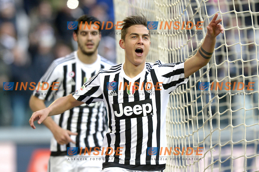 Esultanza Paulo Dybala Juventus, dopo gol 1-0, goal celebration,<br /> Torino 06-01-2016, Juventus Stadium, Football Calcio 2015/2016 Serie A, Juventus - Verona, Foto Filippo Alfero/Insidefoto