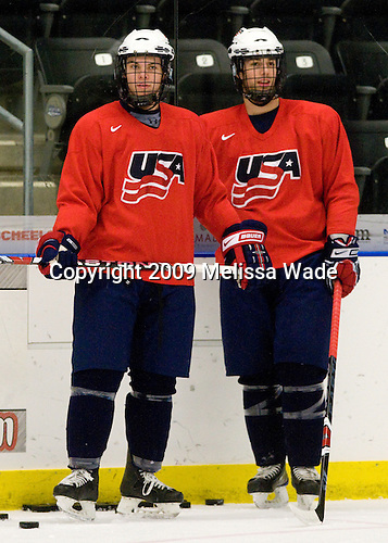 Jeremy Morin (US - 11), Kevin Lynch (US - 14) - The US practiced the morning of Sunday, April 19, 2009, prior to their gold medal game against Russia in the 2009 World Under 18 Championship at the Urban Plains Center in Fargo, North Dakota.