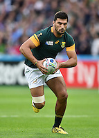 Damian de Allende of South Africa in possession. Rugby World Cup Pool B match between South Africa and the USA on October 7, 2015 at The Stadium, Queen Elizabeth Olympic Park in London, England. Photo by: Patrick Khachfe / Onside Images