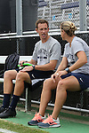 07 September 2014: Penn State assistant coach Tim Wassell (left) with head coach Erica Walsh (right). The Duke University Blue Devils hosted the Penn State University Nittany Lions at Koskinen Stadium in Durham, North Carolina in a 2014 NCAA Division I Women's Soccer match. PSU won the game 4-3.
