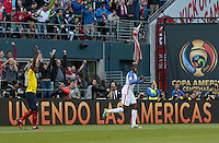 Seattle, WA - June 16, 2016: The U.S. Men's National team go up 2-0 over Ecuador from a goal by Gyasi Zardes in Quarterfinal action at the 2016 Copa America Centenario at CenturyLink Field.