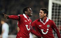 FUSSBALL   1. BUNDESLIGA    SAISON 2012/2013    9. Spieltag   Hannover 96 - Borussia Moenchengladbach         28.10.2012 Mame Diouf (li, Hannover 96) und Karim Haggui (re, beide Hannover 96) jubeln nach dem 2:0
