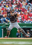 15 May 2016: Miami Marlins catcher J.T. Realmuto in action during a game against the Washington Nationals at Nationals Park in Washington, DC. The Marlins defeated the Nationals 5-1 in the final game of their 4-game series.  Mandatory Credit: Ed Wolfstein Photo *** RAW (NEF) Image File Available ***