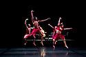"London, UK. 14/03/2012. Shobana Jeyasingh Dance's new double bill ""Classic Cut"" premieres in the Linbury Studio Theatre, Royal Opera House. The company of dancers are: Kamala Devam, Rathimalar Govindarajoo, Sooraj Subramaniam, Sri Thina Subranmaniam, Devaraj Thimmaiah and Parshwanath Upadhye. This piece is ""Configurations"". Photo credit: Jane Hobson"