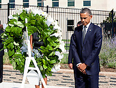 United States President Barack Obama stands after laying a wreath during a remembrance ceremony at the Pentagon in Washington, DC, on Sunday, September 11, 2011..Credit: Joshua Roberts / Pool via CNP