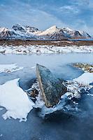 Rock emerges from frozen pond in winter, Lofoten Islands, Norway