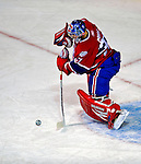 3 February 2009: Montreal Canadiens' goaltender Carey Price clears the puck in the first period against the Pittsburgh Penguins at the Bell Centre in Montreal, Quebec, Canada. The Canadiens defeated the Penguins 4-2. ***** Editorial Sales Only ***** Mandatory Photo Credit: Ed Wolfstein Photo
