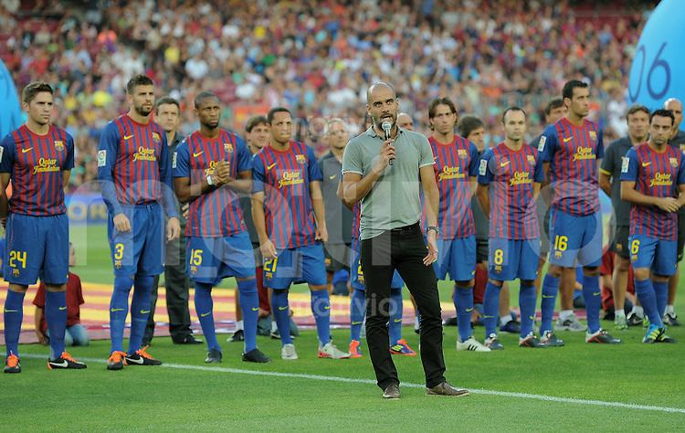 FUSSBALL  INTERNATIONAL   SAISON 2011/2012   22.08.2010 Gamper Cup FC Barcelona - SSC Neapel Trainer Josep Guardiola  bei der Teamvorstellung  des FC Barcelona.