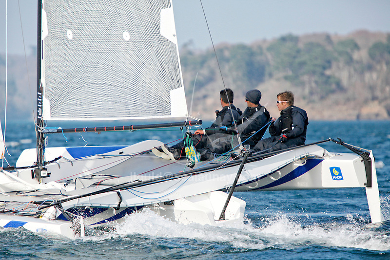Diam 24 One Design, light, sporty, powerful, winged and designed to race with three or four people on board. The Diam 24OD is fast in light winds and confident in stronger breeze without the necessity for high level sporting prowess. The Diam 24 the new boat for the Tour de France &agrave; la Voile 2015.<br /> Macif, Skipper Fran&ccedil;ois Gabart