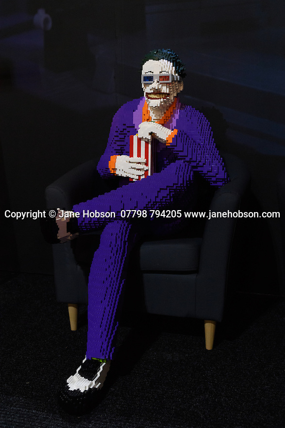 THE ART OF THE BRICK: DC SUPER HEROES - Artist Nathan Sawaya returns to London with the world's largest LEGO exhibition, inspired by Batman, Superman, and Wonder Woman. The exhibition opens, in a purpose-built marquee in Doon Street car park, Upper Ground, on the South Bank. Picture shows: The Joker