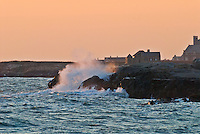 Rhode Island, Newport, wave crashing on coast