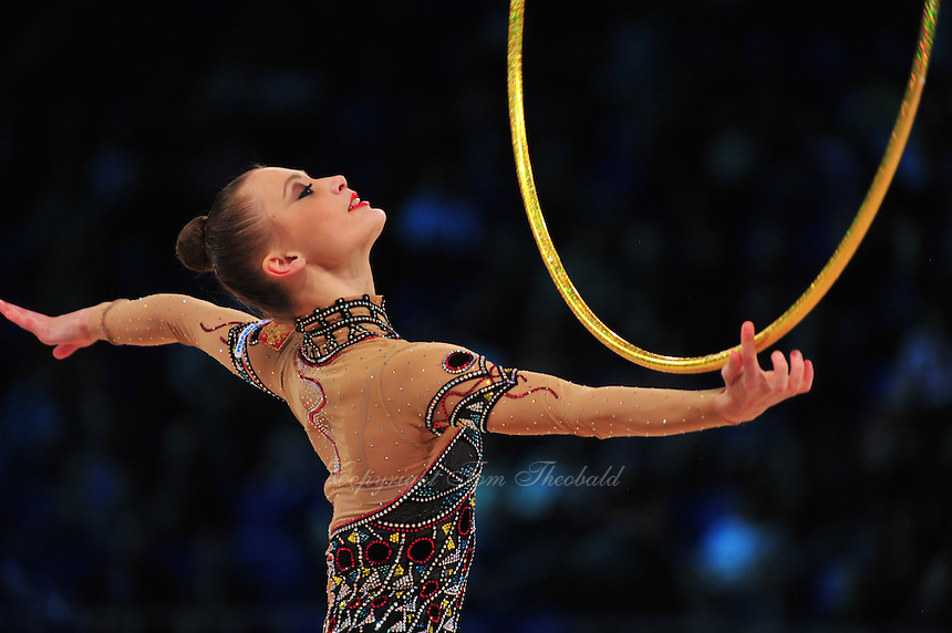 """YANA LUKONINA of Russia performs in Event Finals at 2011 World Cup Kiev, """"Deriugina Cup"""" in Kiev, Ukraine on May 8, 2011."""