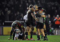 Harlequins players celebrate at the final whistle. Aviva Premiership match, between Harlequins and Leicester Tigers on February 19, 2016 at the Twickenham Stoop in London, England. Photo by: Patrick Khachfe / JMP