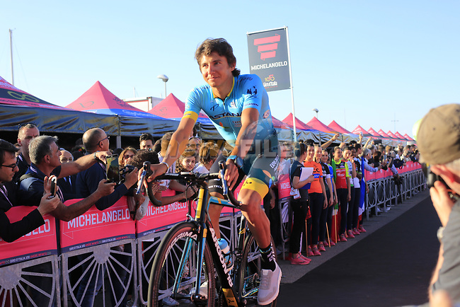 Astana Pro Cycling Team at theTeam Presentation in Alghero, Sardinia for the 100th edition of the Giro d'Italia 2017, Sardinia, Italy. 4th May 2017.<br /> Picture: Eoin Clarke | Cyclefile<br /> <br /> <br /> All photos usage must carry mandatory copyright credit (&copy; Cyclefile | Eoin Clarke)
