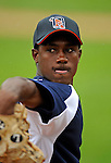17 June 2008: Oneonta Tigers pitcher Darwin DeLeon warms up prior to Opening Day against the Vermont Lake Monsters at historic Centennial Field in Burlington, Vermont. The Lake Monsters defeated the Tigers 6-4 in the first game of their three-game season opening series in Vermont...Mandatory Credit: Ed Wolfstein Photo