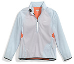 blue and black and orange running jacket by reebok