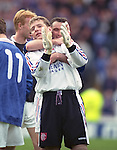 Andy Goram and Ian Ferguson larking about on the pitch, Scottisg Cup Final 1996