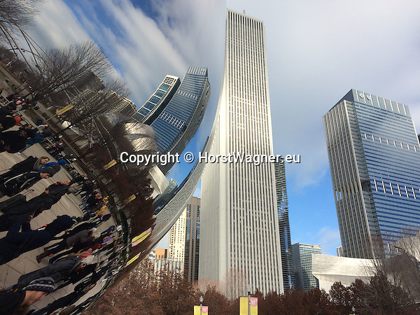 Chicago, Illinois, United States of America / USA; December 27, 2016 -- Cloud Gate, nicknamed The Bean, stainless steel sculpture by artist Anish Kapoor, aat Millennium Park -- Photo: © HorstWagner.eu