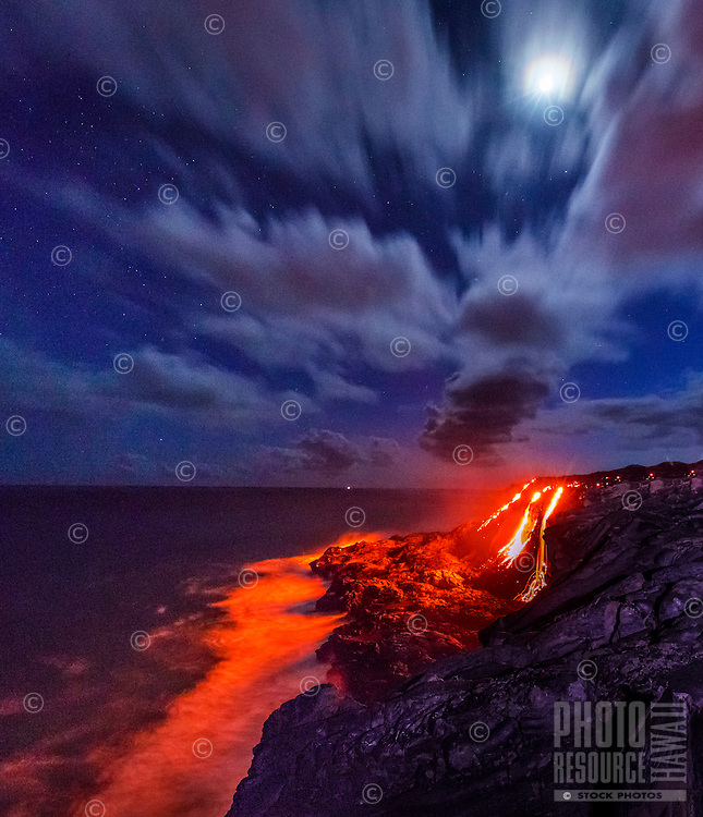 Night falls as lava continues to flow into the ocean, Hawai'i Volcanoes National Park, Hawai'i Island.