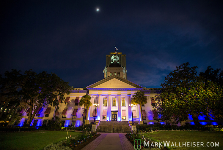 The Light Up CF event by the Cystic Fibrosis Lifestyle Foundation bathed the Florida Capitol in purple lights in Tallahassee, Florida.