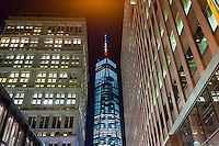 The spire of One World Trade Center appears as red, white and blue in this photograph on Tuesday, March 22, 2016. The Port Authority claimed it was lit in the colors of the Belgian flag, red, yellow and black (with a 10% light to simulate black) but many looking at the spire did not see those colors. (© Richard B. Levine)