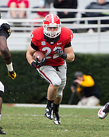 The Georgia Bulldogs beat the App State Mountaineers 45-6 in their homecoming game.  After a close first half, UGA scored 31 unanswered points in the second half.  Georgia Bulldogs running back Brendan Douglas (22)