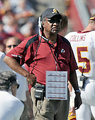 Landover, MD - October 12, 2008 -- Washington Redskins defensive coordinator Greg Blache stalks the sidelines during the game against the St. Louis Rams at FedEx Field in Landover, Maryland on Sunday, October 12, 2008.  The Rams won the game 19 - 17..Credit: Ron Sachs / CNP