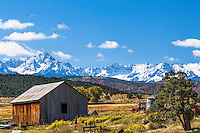 A picturesque valley farm at the foot of Mount Sneffles and the San Juan Mountain Range in Ridgeway Colorado