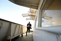 A trainee takes part in a training course to fight maritime terror and piracy, on a boat in Haifa Port....