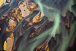 Aerial of a delta, Iceland