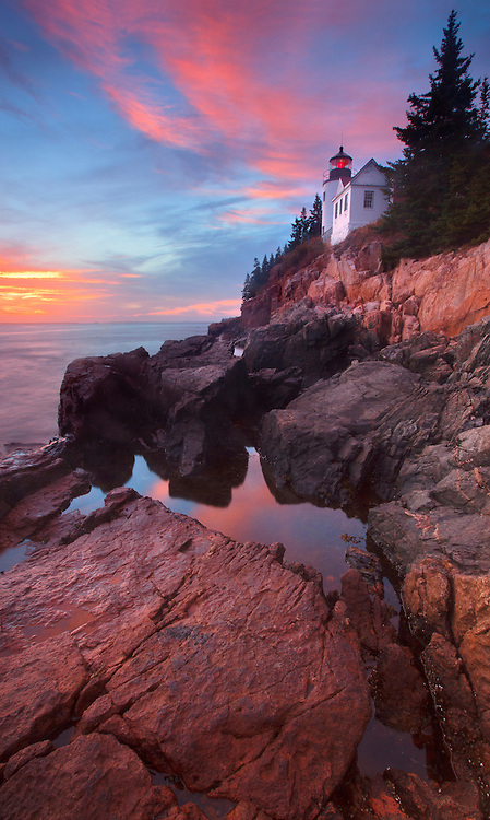 Sunset at Bass Harbor Head Lighthouse at Acadia National Park, Maine