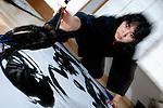 Renowned calligrapher Soun Takeda at his studio in Kanagawa, Japan.