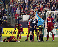 New England Revolution midfielder Pat Phelan (28) ejected. In a Major League Soccer (MLS) match, Real Salt Lake defeated the New England Revolution, 2-0, at Gillette Stadium on April 9, 2011.
