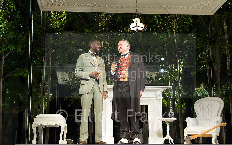 The Nether<br /> by Jennifer Haley<br /> Headlong <br /> directed by Jeremy Herrin <br /> <br /> at Royal Court Theatre, London, Great Britain <br /> press photocall<br /> 23rd July 2014 <br /> <br /> In the Garden <br /> Isabella Pappas as Iris<br /> Stanley Townsend as Sims<br /> <br /> In the Interrogation room <br /> David Beames as Doyle<br /> Amanda Hale as Morris<br /> <br /> Cognac<br /> Ivano Jeremiah as Woodnut <br /> Stanley as Townsend as Sims <br /> <br /> Photograph by Elliott Franks
