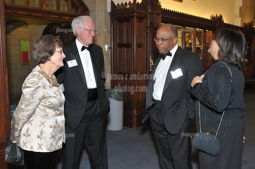 Kurt Schmoke, Henry B. Schacht and Guests, Cocktail Reception for Yale University Athletics Blue Leadership 2009 Honorees. Kiphuth Trophy Room, Payne Whitney Gym on 20 November '09.