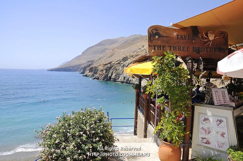 Path to Vrissi beach near the Three Brothers tavern in Chora Sfakion, Crete, Greece