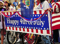 Happy 4th of July banner. children. Castine Maine United States small town in coastal Maine.