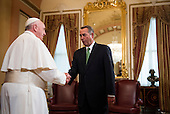 The Speaker of the House John Boehner (Republican of Ohio), right, greets Pope Francis in the U.S. Capitol building as the Pope arrives to deliver his speech to a joint meeting of Congress on Thursday, September 24, 2015. <br /> Credit: Bill Clark / Pool via CNP