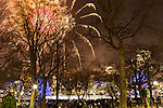 Family fireworks in Boston Common at FirstNight Boston, the celebration of the New Year in Boston, Massachusetts, USA