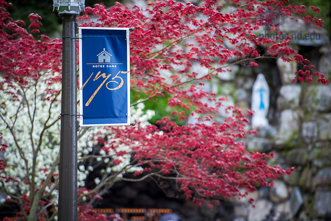 April 21, 2017; Banner commemorating the 175th anniversary of the founding of the University (Photo by Matt Cashore/University of Notre Dame)