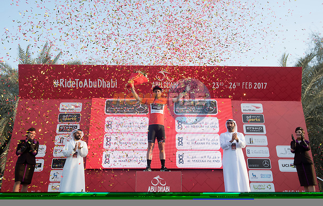 Mark Cavendish (GBR) Team Dimension Data wins Stage 1 Emirates Motor Company Stage and wears the race leaders Red Jersey of the 2017 Abu Dhabi Tour, running 189km from Madinat Zayed through the desert and back to Madinat Zayed, Abu Dhabi. 23rd February 2017<br /> Picture: ANSA/Claudio Peri | Newsfile<br /> <br /> <br /> All photos usage must carry mandatory copyright credit (&copy; Newsfile | ANSA)