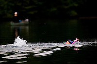"CONCORD, MA.-- September 22, 2009-- Amy Beckett began swimming at Walden Pond this summer and now swims there 2 to 3 times a week. ""I love it here,"" she says. CREDIT: JODI HILTON FOR THE NEW YORK TIMES"