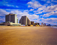 Casinos and Hotels along the Shore of Atlantic City Beach, New Jersey